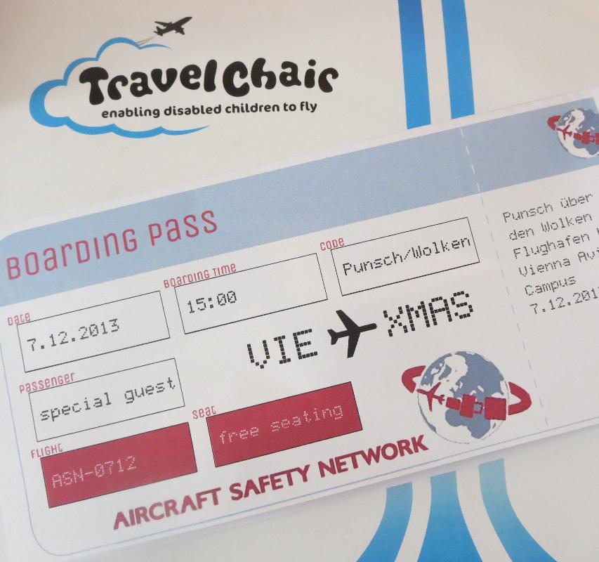 Das Bild zeigt die Bordkarte für die Benefizveranstaltung